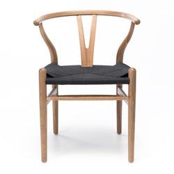 SAL - Wishbone Chair Natural Oak Black Rope Seat