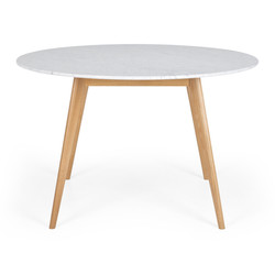 SAL - Radius 1.2m rd Marble Dining Table Oak Leg