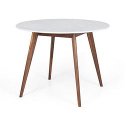 SAL - Radius 1m rd Marble Dining Table Walnut Leg