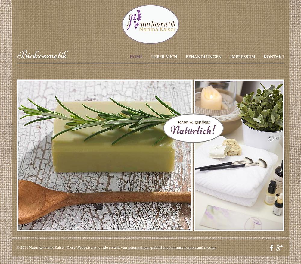 Die HOME-Seite von Martina Kaiser Naturkosmetik. Klar strukturiert und eindeutig lässt sie keinen Raum für Konfusion bei den Besuchern dieser Webseite