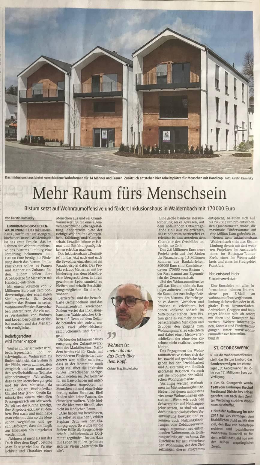 Das Inklusionshaus in Waldernbach erhält eine Zuwendung des Bistums Limburg in Höhe von 170.000 Euro