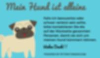 Mein Hund ist allein zuhause - Doggie-Safety-Card Mops