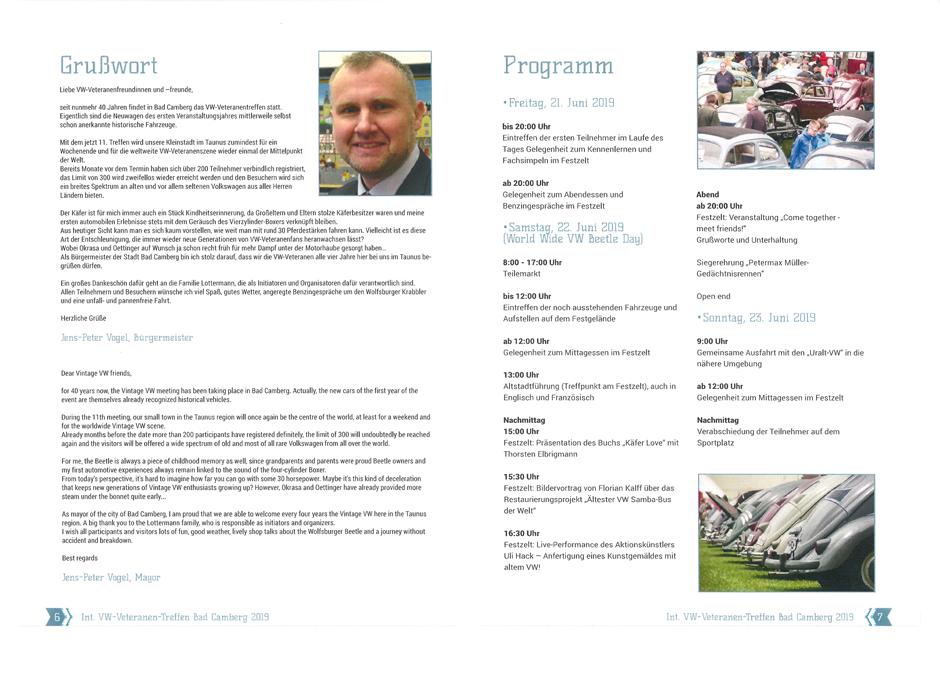 Programmübersicht zum 11. Internationalen VW Veteranentreffen in Bad Camberg