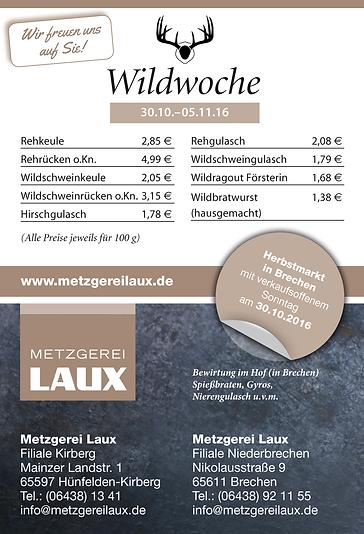 Metzgerwerbung gestaltet von Peteratzinger-Publishing. Wildwoche bei Metzgerei Laux in Niederbrechen, rechtzeitig zum Brechener Herbstmarkt