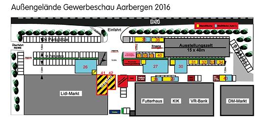 Hier finden Sie das Ausstellungsgelände der Gewerbeschau 2016 in Aarbergen im Überblick