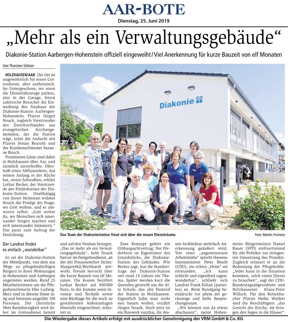Die Krankenpflegestation und Diakoniestation Aarbergen-Hohenstein wurde offiziell eingeweiht