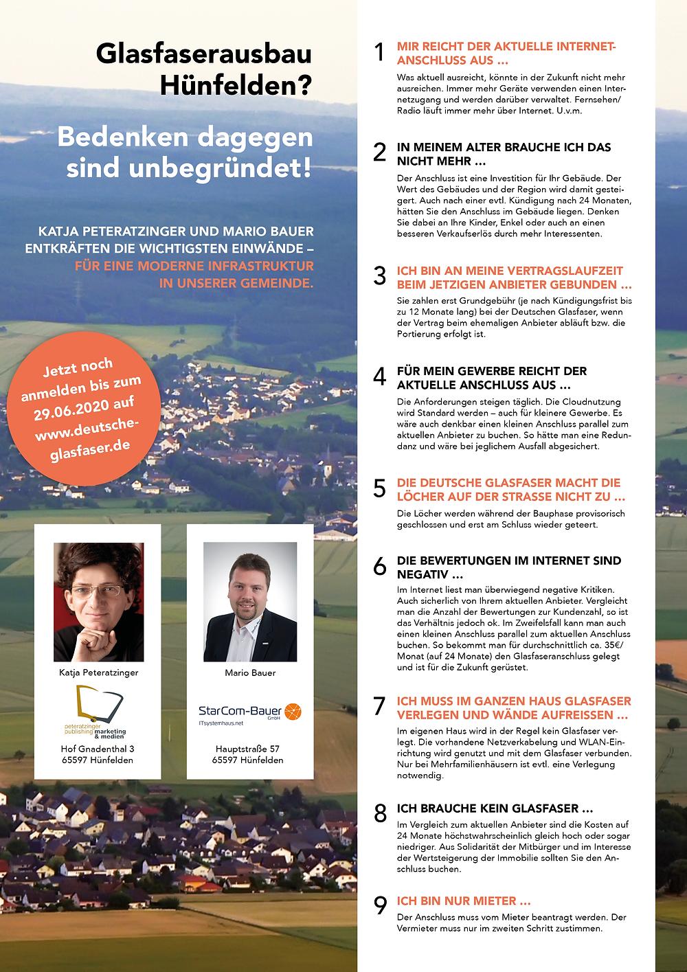 Glasfaserausbau Hünfelden? Katja Peteratzinger von Peteratzinger-Publishing und Mario Bauer, von StarCom Bauer GmbH, entkräften die wichtigsten Einwände.