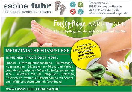 Fusspflege Aarbergen Sabine Fuhr wirbt mit modern gestalteten Anzeigen im Rahmen der POWERMEDIA-Serie von Peteratzinger-Publishing aus Hünfelden-Kirber