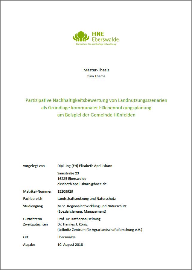 """Titelblatt der Master-Thesis von Elisabeth Apel-Isbarn zum Thema """"Partizipative Nachhaltigkeitbewertung von Landnutzungsszenarien als Grundlage kommunaler Flächennutzungsplanung am Beispiel der Gemeinde Hünfelden"""""""