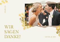 Beige-goldene Hochzeit-Dankeskarte mit F