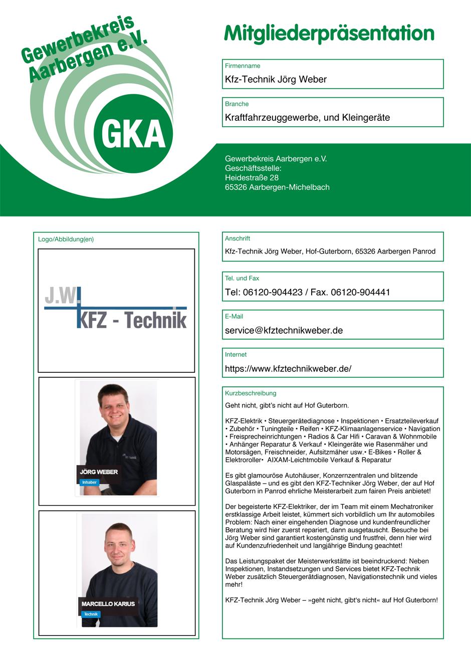 Mitgliederpräsentation von KFZ-Technik Jörg Weber im Schaukasten des Gewerbekreises Aarbergen in Aarbergen-Michelbach
