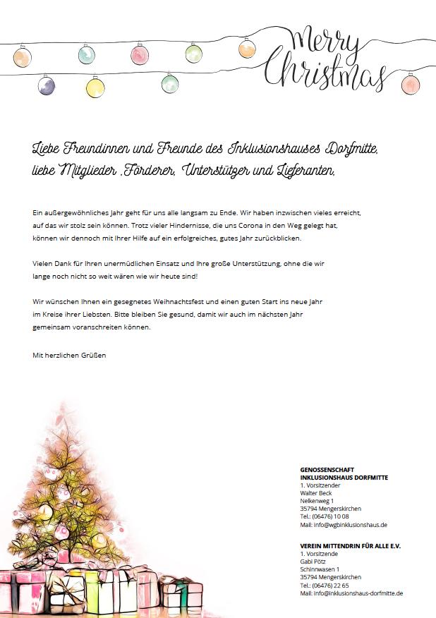 Inklusionshaus Dorfmitte wünscht frohe Weihnachten