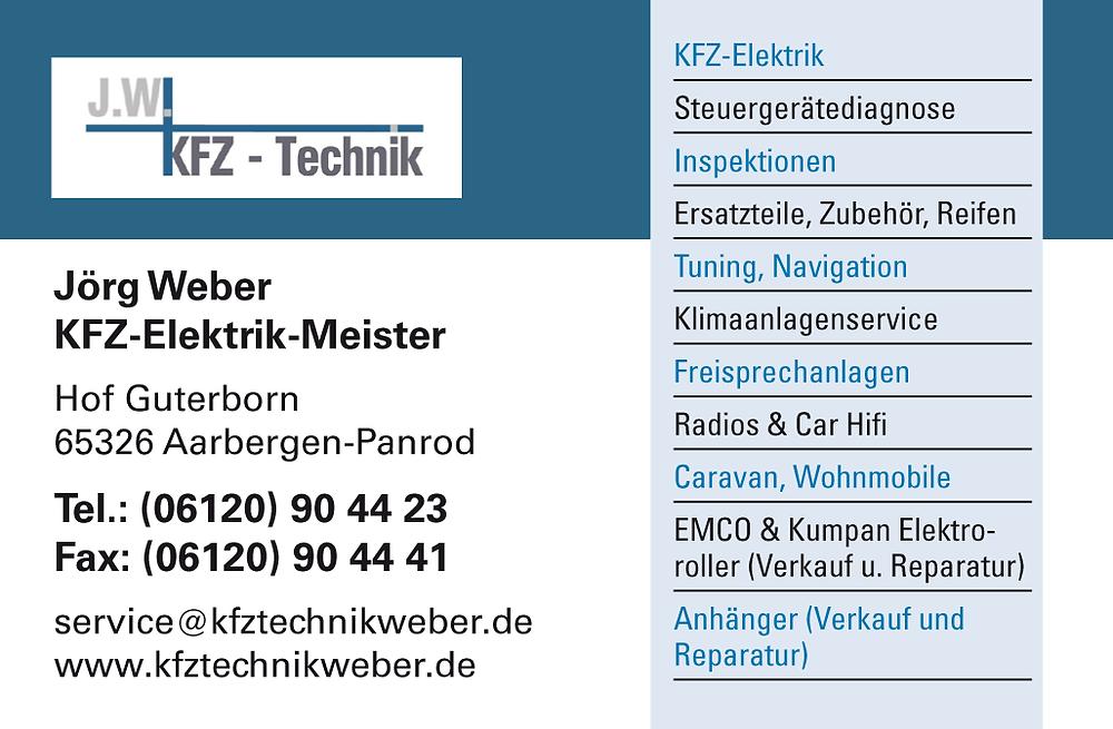 KFZ-Meisterwerkstatt und Beratung, Verkauf und Wartung rund um Gartengeräte und Elektroroller Jörg Weber in Aarbergen-Panrod