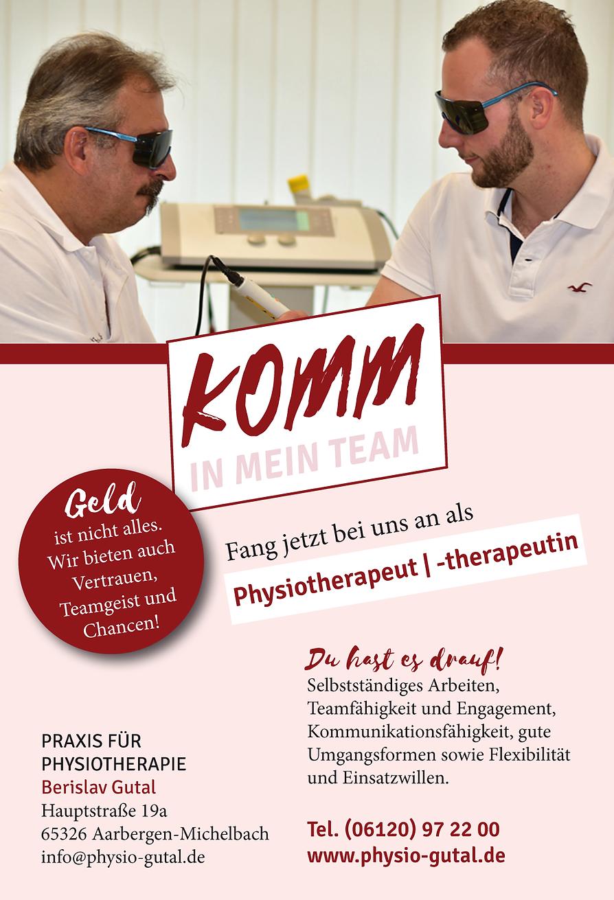 Stellenanzeige Praxis für Physiotherapie