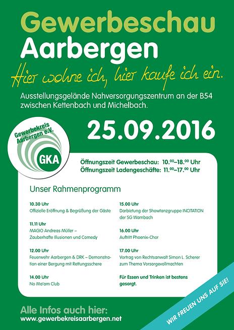Preisgekröntes Plakat zur Gewerbeschau Aarbergen 2016, gestaltet und gedruckt von Peteratzinger-Publishing