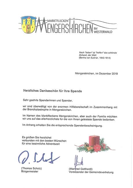 Dankesschreiben der Gemeinde Mengerskirc