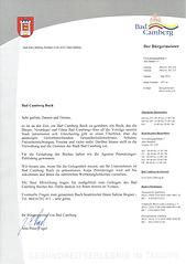 Empfehlungsschreiben des Bürgermeisters der Stadt Bad Camberg, Jens-Peter Vorgel