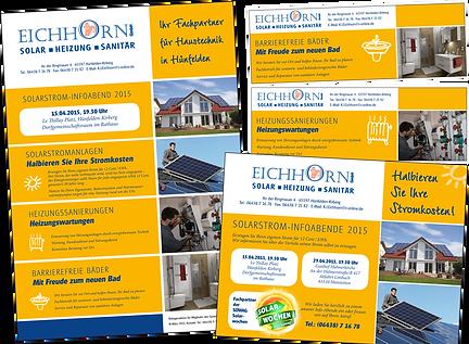 Werbemedien für die Firma Eichhorn Solar Heizung Sanitär in Hünfelden-Kirberg