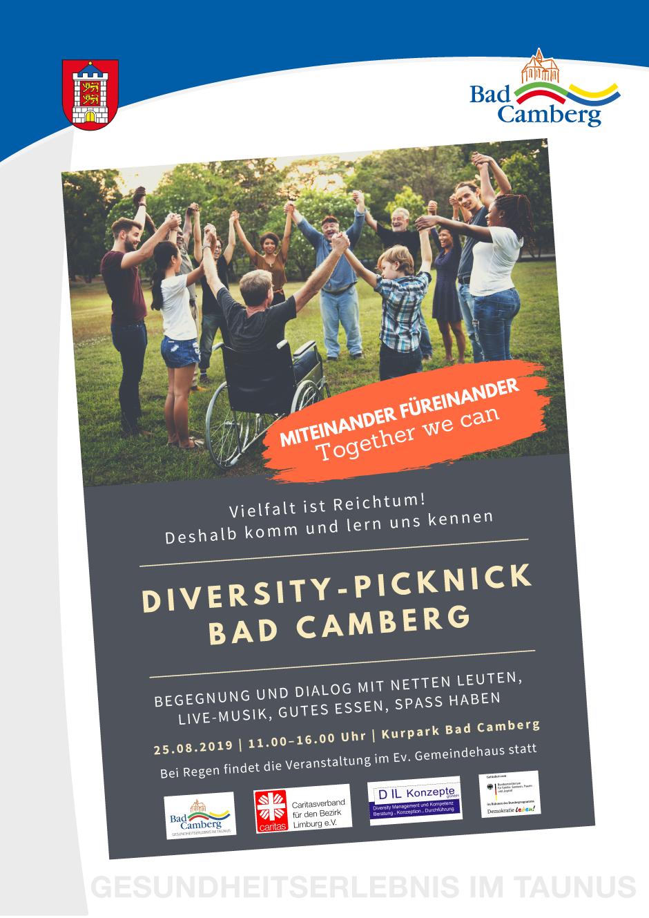 Herzlich willkommen zum 2. Diversity-Picknick im Kurpark der Stadt Bad Camberg. Begegnung und Dialog mit netten Menschen, Live-Musik, Spezialitäten aus aller Herren Länder und Spaß haben.