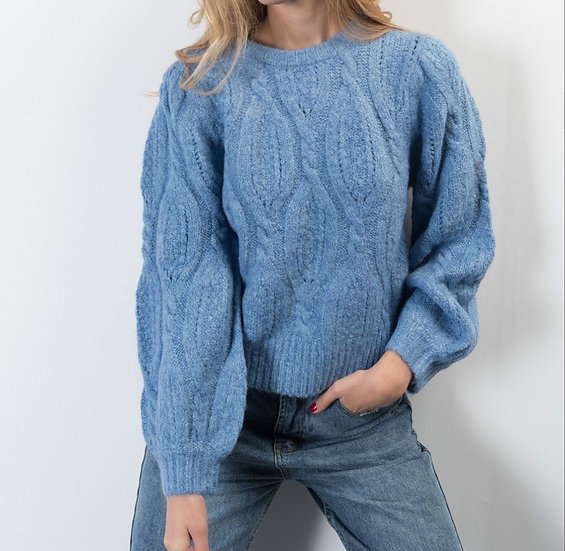 MELODIE- Cable Knit Blue Chunky Knit