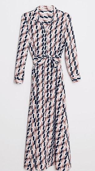 STELLA- Geometric Maxi Dress / Dust Coat