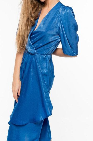 ESTELLE - Electric Blue Wrap Dress