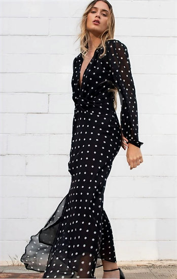 ERMIONI- Maxi Dress With Front Knot Detail- Black With White Polka Dots.