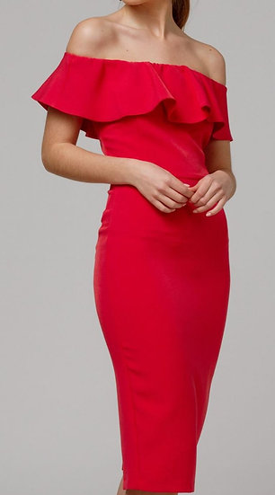 MARGARITA Frill Bodycon Dress- Red or Black