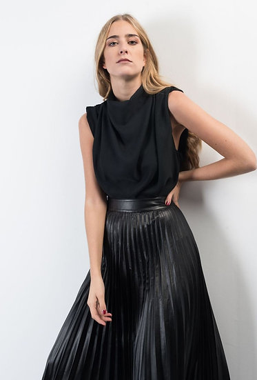 JULIETTE Pleather Pleated Midi Skirt- Black