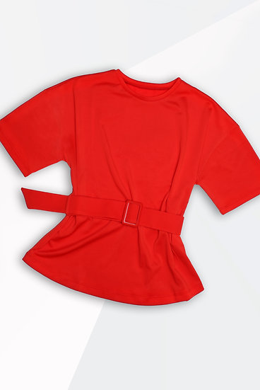 BELLA T-Shirt With Belt- Red