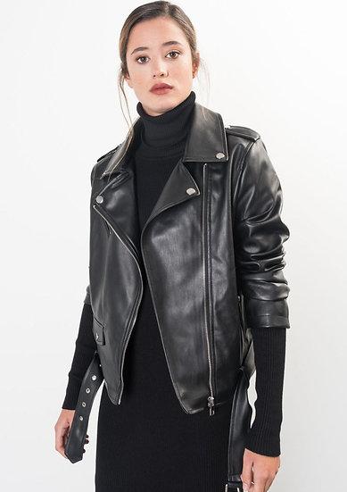 BIKER JACKET- Black Faux Leather