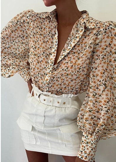 YASMINE Billowing Floral Shirt- Yellow