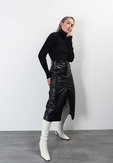 PAOLA- Black Pleather Midi Skirt