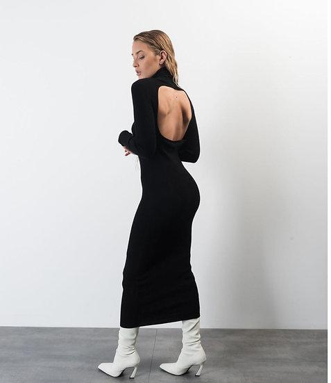 CALISTO- Black Ribbed Dress