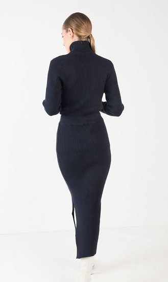 NOÉMIE Knitted Pencil Skirt In Navy