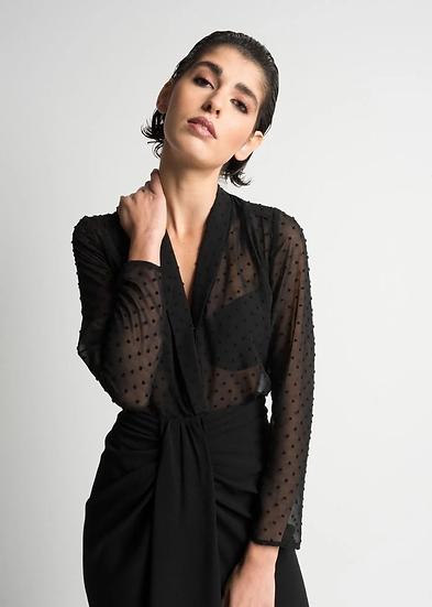 MARINA-Dotted Mesh Body Suit- Sheer Black