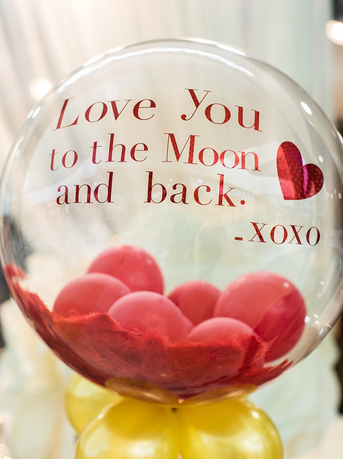 Glam balloon large. Text: Love you to the moon and back