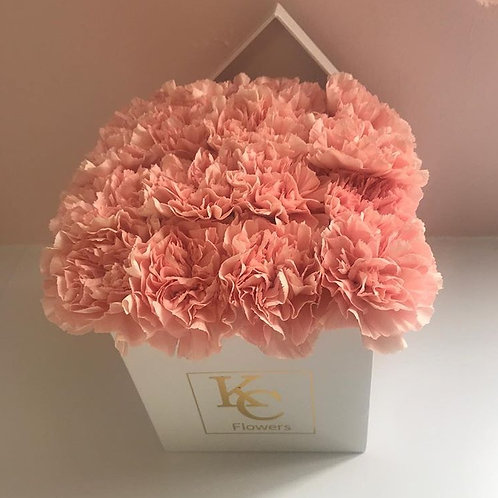 Square white carnation