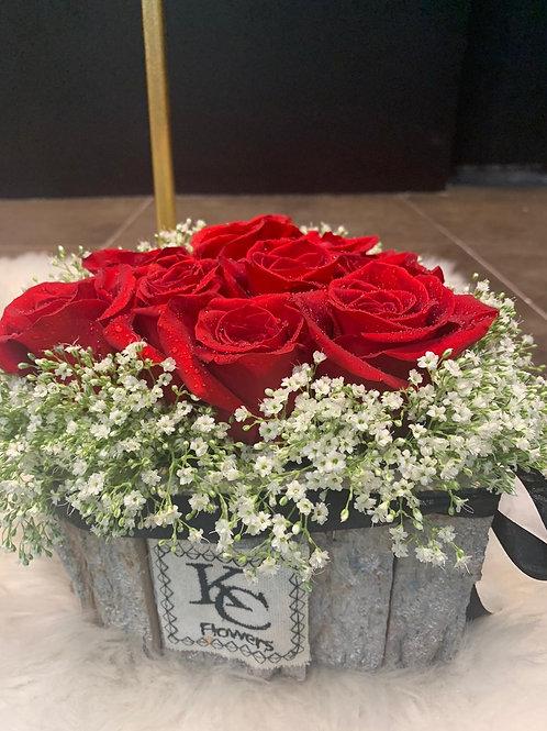 Medium Wood heart shape roses and babiesbreath