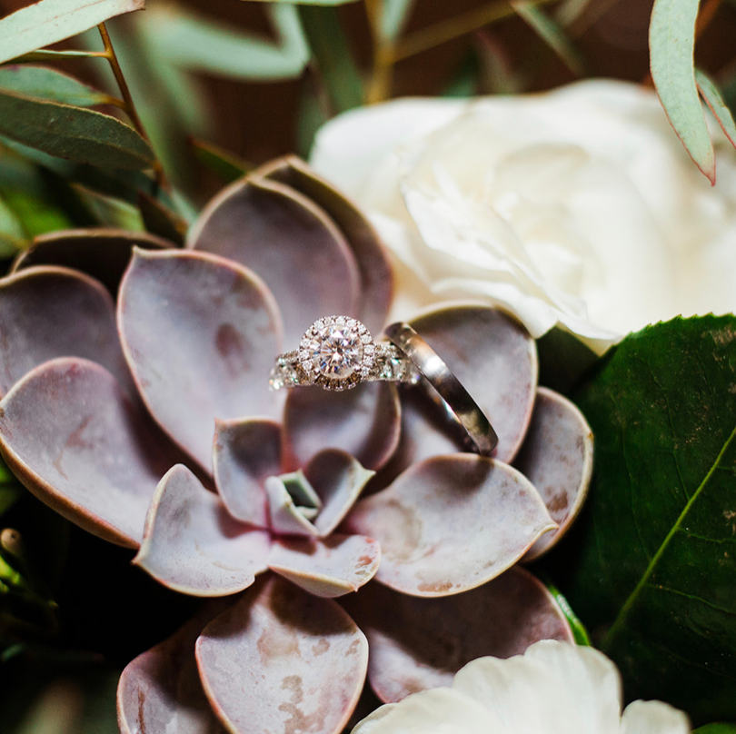 Succulent Wedding Ring Detail Shot