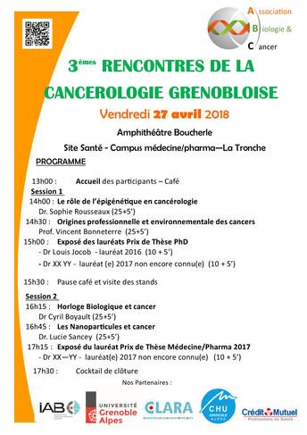 SAVE THE DATE !! Les Rencontres de la Cancérologie Grenobloise auront lieu le vendredi 27 avril 2018
