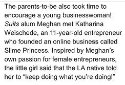 An excerpt from a news article about Slime Princess, Katharina Weischede and Meghan Markle