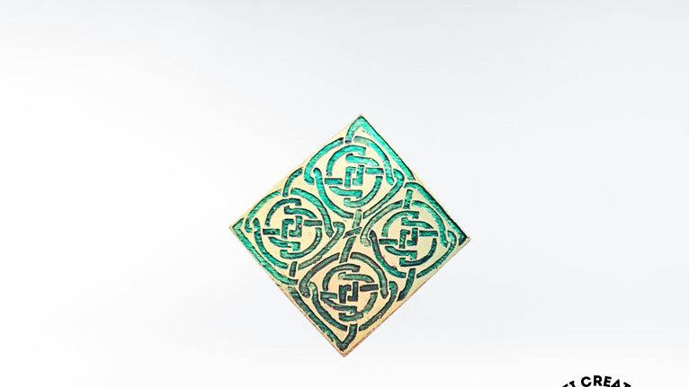 Celtic Knot Brooch In Green