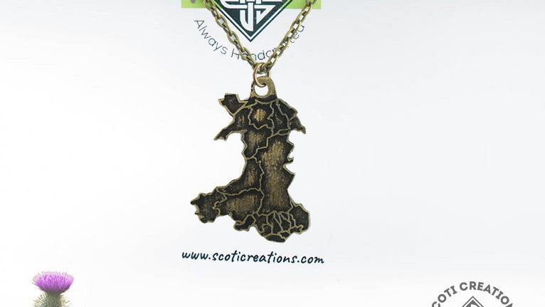 Brass Map of Scotland Necklace