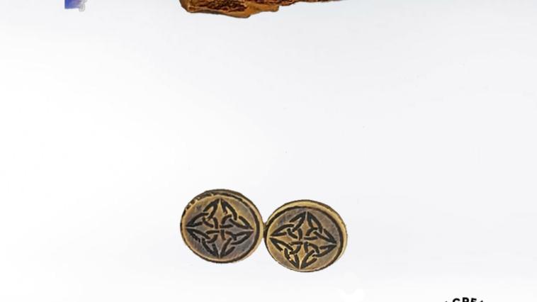 Carolingian Cross Brass PostEarrings
