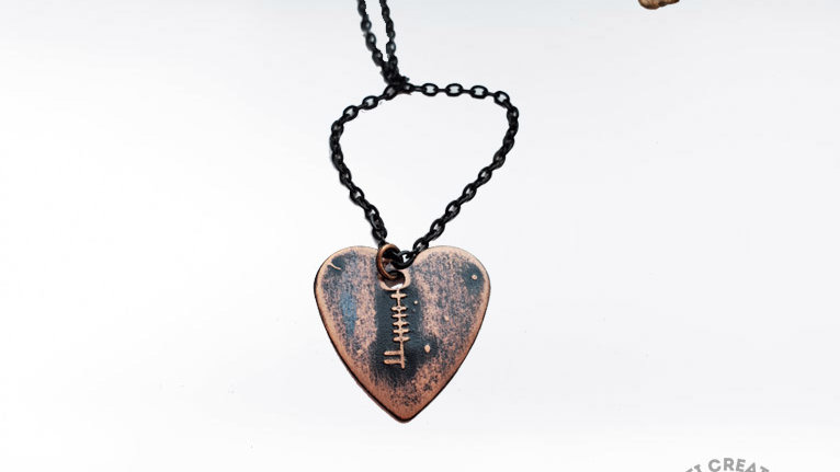 "Ogham ""Dia""~""God"" Heart Pendant in Copper"