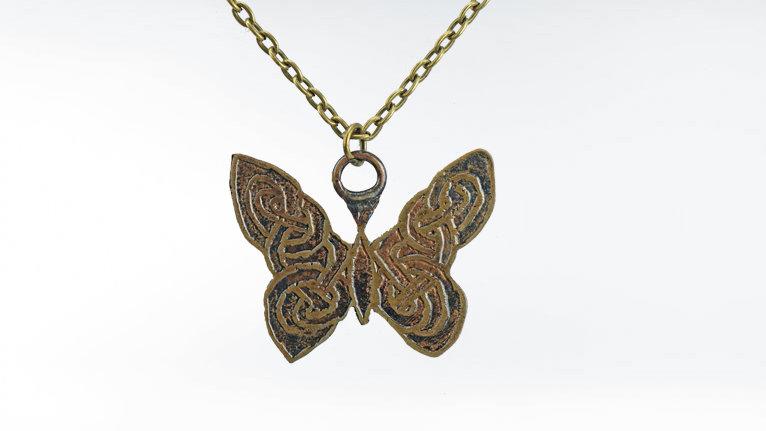 Celtic Butterfly Necklace, Butterfly Pendant