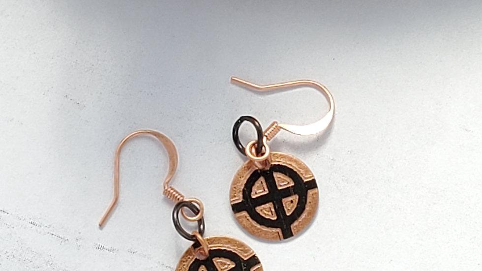 Even-Armed Cross Copper Earrings