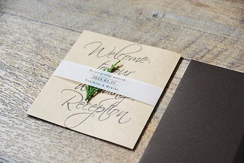 正方形クラフト紙の招待状3点セット(10枚)