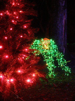 Red tree and green deer